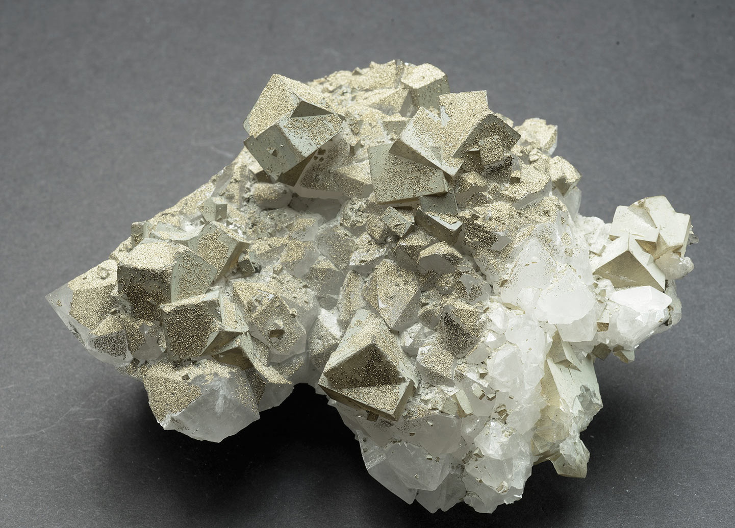 Pyrite & chamosite on fluorite, 'Zinc flats', Cambokeels mine, Eastgate, Weardale. 110x90x45mm
