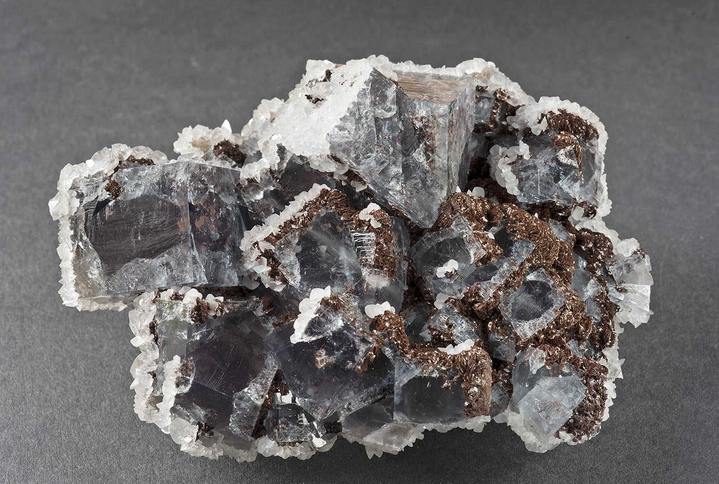 Fluorite with calcite and siderite, West Boltsburn mine. 100x60x35mm