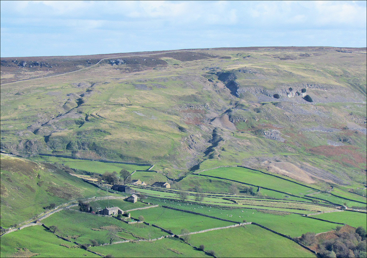 Fell End and Tanner Rake hushes, Arkengarthdale viewed from  Hungry Hushes.