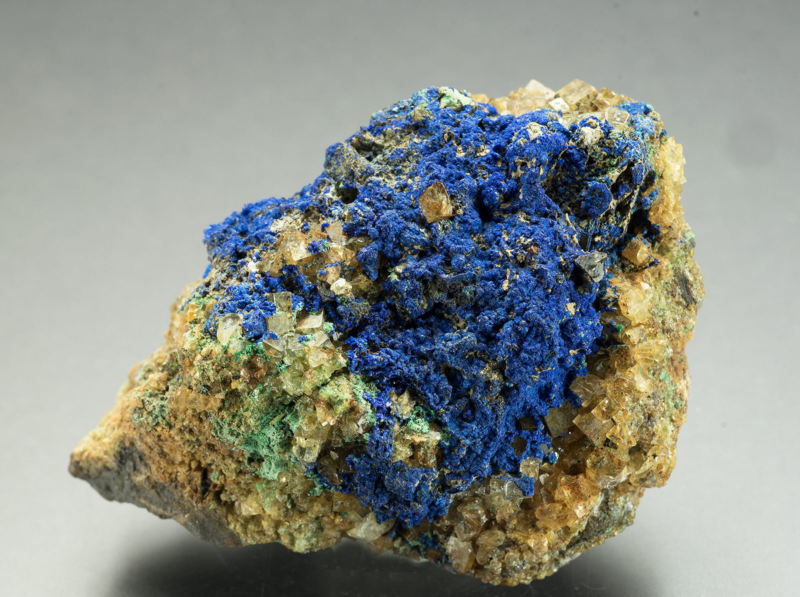 Azurite, Great Sleddale copper mine, Upper Swaledale.  65x45x40mm